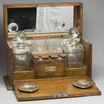 Victorian oak traveling liquor cabinet