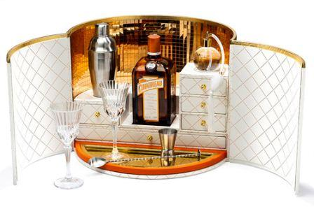 Cointreau travel bar in a hatbox with atomiser